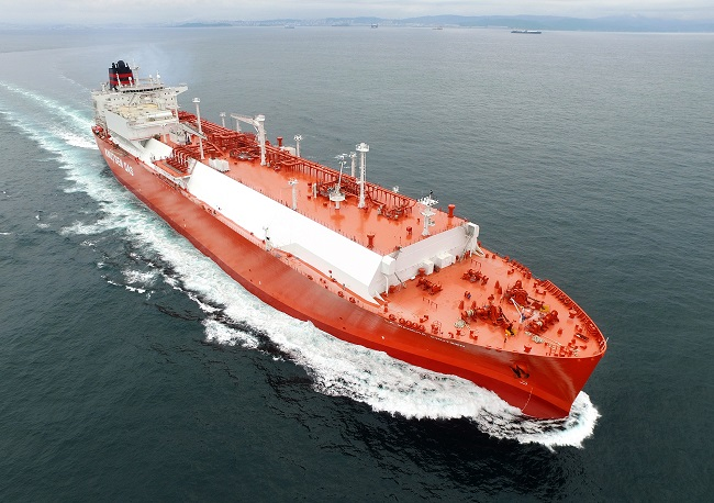 This file photo, provided by Hyundai Heavy Industries, shows a LNG carrier, built by the shipyard, operating at sea.