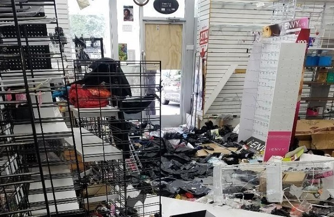 This photo, provided by a Pennsylvania-based suppliers' association, shows a South Korean-owned store looted by protesters on June 3, 2020.