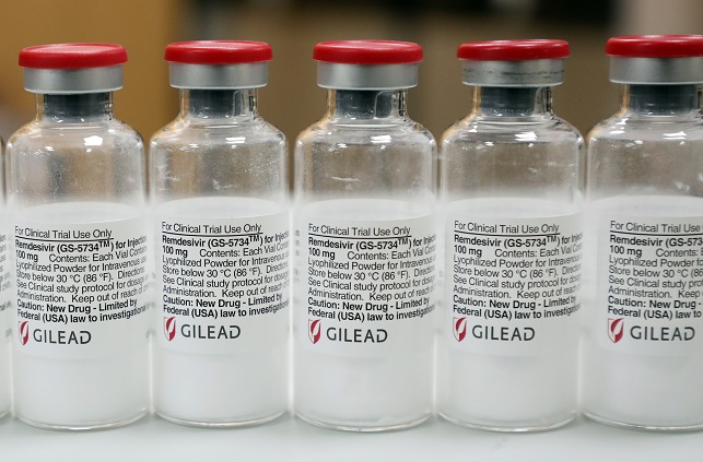 Bottles of U.S. pharmaceutical giant Gilead Sciences Inc.'s Remdesivir are displayed at a Seoul hospital on June 3, 2020. (Yonhap)