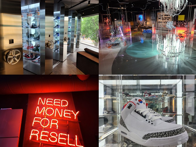 This compilation of photos shows the show room of KREAM in Sangsu-dong, Seoul, on July 14, 2020. (Yonhap)