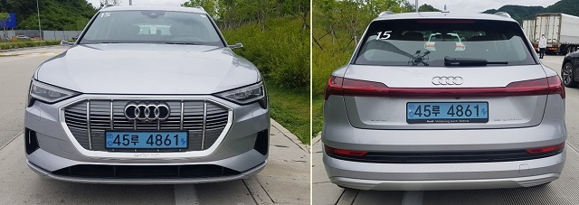 These photos, taken on July 13, 2020, show the front and rear of the all-electric Audi e-tron 55 quattro model. (Yonhap)