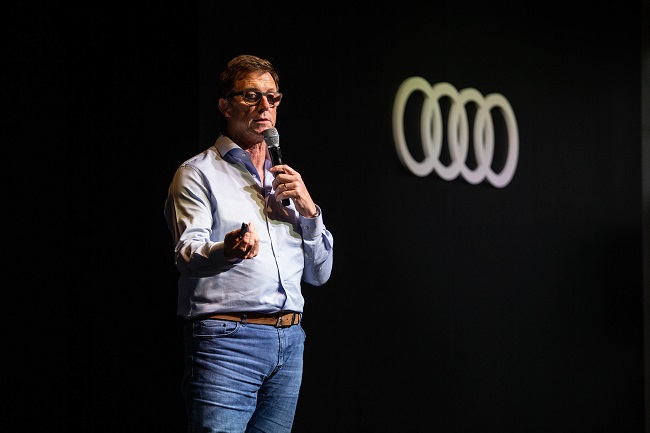 In this photo, provided by Audi Korea and taken on July 13, 2020, Executive Director Jeff Mannering in charge of Audi's South Korean operations answers questions from reporters on its business strategy in Korea after a media test drive event held at Sagewood Hongcheon resort in Hongcheon, 100 kilometers east of Seoul.