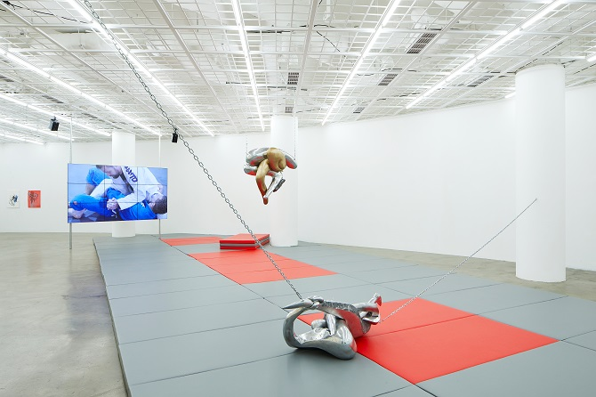 """This image, provided by Art Sonje Center on July 27, 2020, shows the solo exhibit """"Saturday, Tuesday"""" by French multimedia artist Camille Henrot at the gallery in central Seoul."""