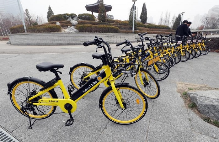 Kakao Mobility's electric bicycles. (Yonhap)