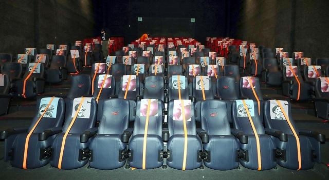 Seats marked with orange tape. (Yonhap)
