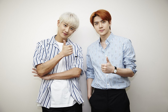 A file publicity photo provided by SM Entertainment of EXO-SC, a subunit duo of K-pop boy band EXO