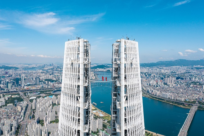 This photo, provided by Lotte World on July 20, 2020, shows an elevated walkway near the top of South Korea's tallest building, Lotte World Tower.