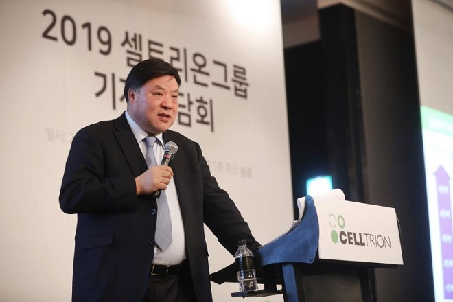 This photo provided by Celltrion Group shows its chief Seo Jung-jin attending a press conference.