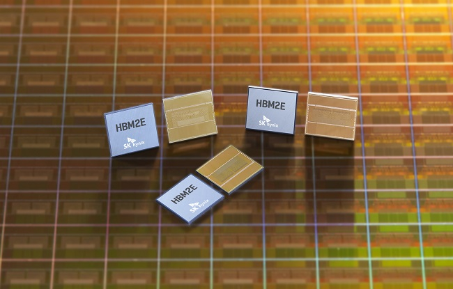 This photo provided by SK hynix Inc. on July 2, 2020, shows the company's high-speed DRAM, HBM2E.