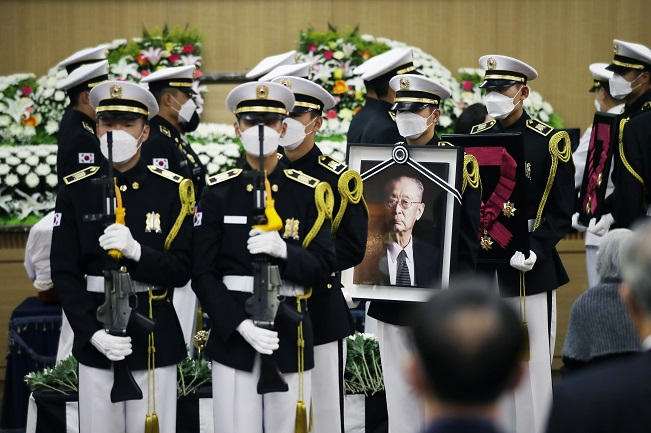 The funeral for Paik Sun-yup, South Korea's best-known Korean War hero, is under way at Asan Medical Center in eastern Seoul on July 15, 2020. Paik died on July 10 at age 99. (Yonhap)