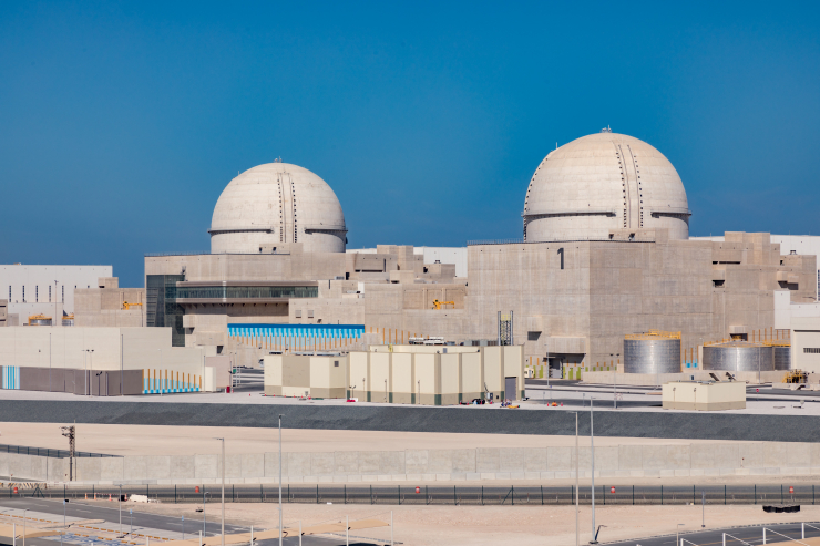 This photo, released by Korea Electric Power Corp. (KEPCO) on March 4, 2020, shows the Barakah nuclear plant, 270 kilometers west of Abu Dhabi.