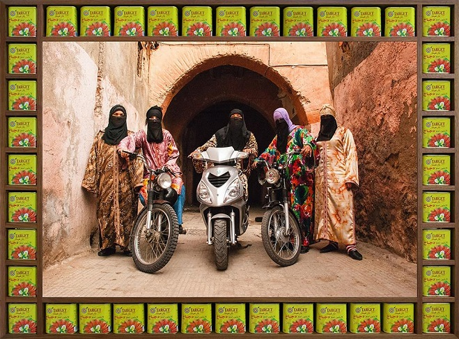 """This image provided by Barakat Contemporary on Aug. 4, 2020, shows Moroccan-British artist Hassan Hajjaj's 2010 photograph """"Henna Angels."""" Hajjaj will hold his first Asian exhibition at the art gallery in central Seoul from Aug. 5-Sept. 27."""