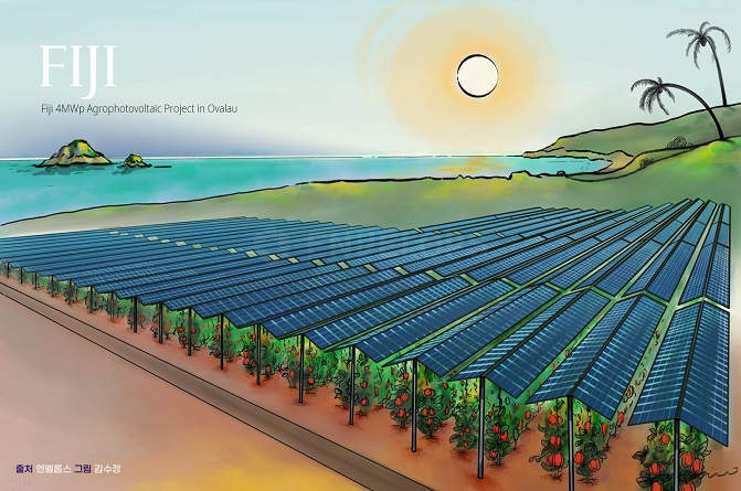 This image, provided by Korea International Cooperation Agency, depicts the Fiji Agrophotovoltaic Program.