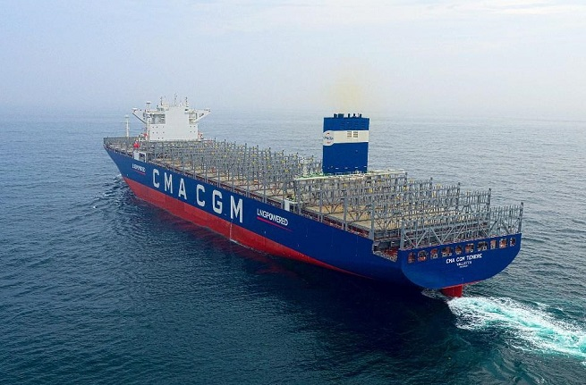 This photo, provided by Hyundai Heavy Industries (HHI) Group on Aug. 24, 2020, shows an LNG-powered container vessel with a capacity of 14,800 twenty-foot equivalent units, which was built by its shipbuilding unit Samho Heavy Industries Co.