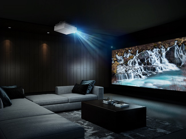 This photo, provided by LG Electronics Inc., on Aug. 31, 2020, shows the company's new LG CineBeam Laser 4K home cinema projector, HU810P.