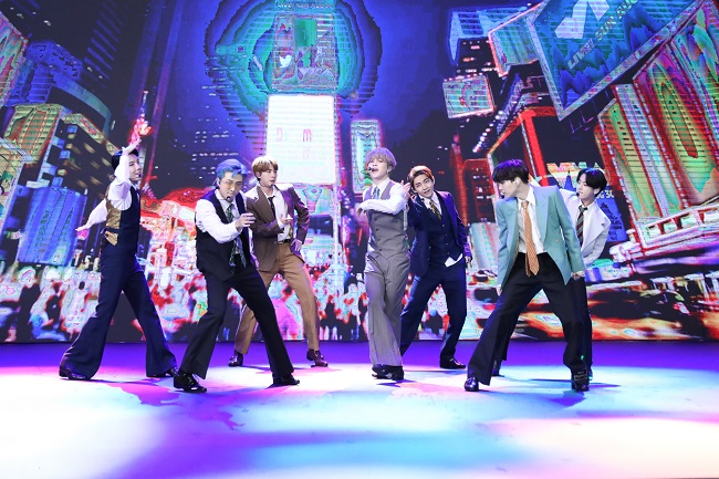 "This photo provided by Big Hit Entertainment on Aug. 31, 2020, shows K-pop band BTS' performance of ""Dynamite,"" which was aired on the 2020 MTV Music Video Awards."