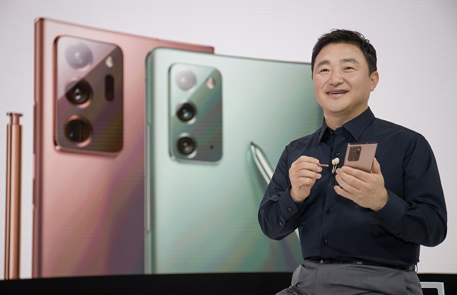 This image provided by Samsung Electronics Co. on Aug. 5, 2020, shows Roh Tae-moon, president and head of Mobile Communications Business at Samsung Electronics at the Galaxy Unpacked event.