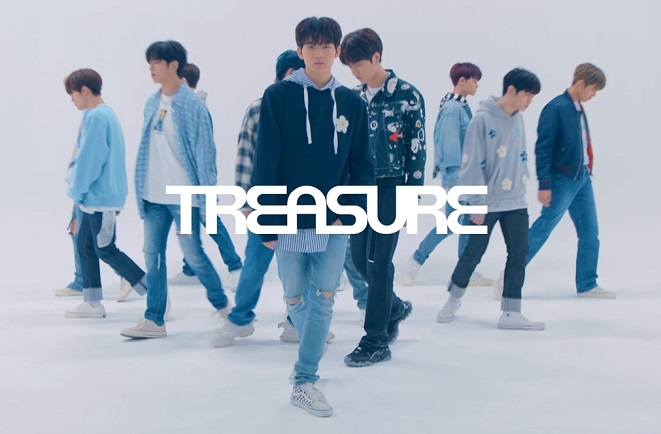 A publicity photo for new K-pop boy band TREASURE provided by YG Entertainment