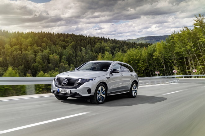 This file photo provided by Mercedes-Benz shows the EQC 400 4MATIC SUV, the first all-electric vehicle to be launched in South Korea by the German carmaker on Oct. 22, 2019.