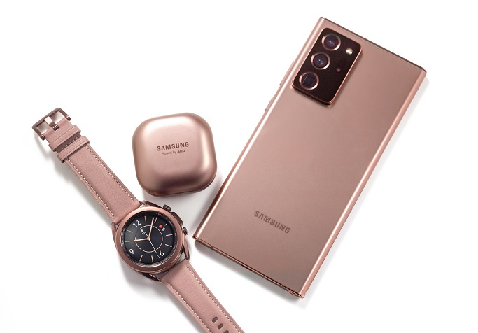 This photo, provided by Samsung Electronics Co. on Aug. 5, 2020, shows the company's Galaxy Watch 3, Galaxy Buds Live and Galaxy Note 20.