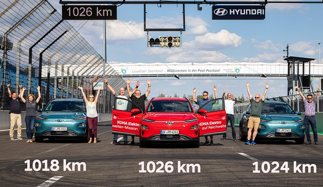 This photo provided by Hyundai Motor shows officials from Auto Bild cheering after the carmaker's Kona Electric finished a travel-range test at the EuroSpeedway Lausitz in Germany on July 24, 2020.