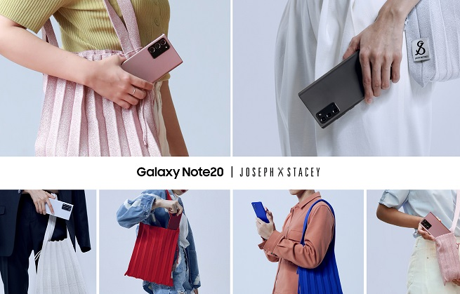 This image provided by Samsung Electronics Co. on Aug. 27, 2020, shows Samsung's Galaxy Note 20 marketing collaboration with fashion accessory brand Joseph&Stacey.