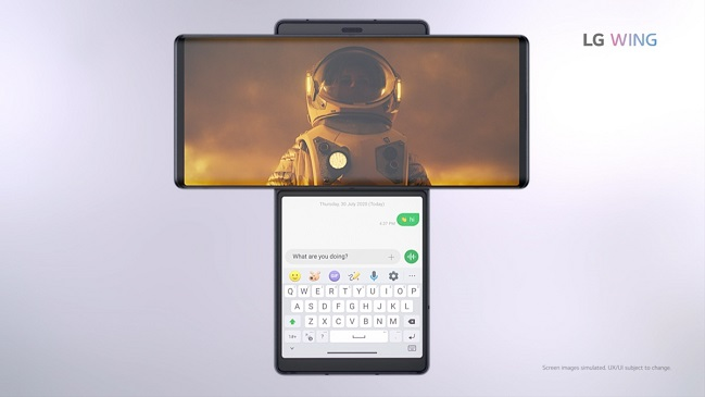 This photo, provided by LG Electronics Inc. on Sept. 14, 2020, shows the company's new dual-screen smartphone, the Wing.