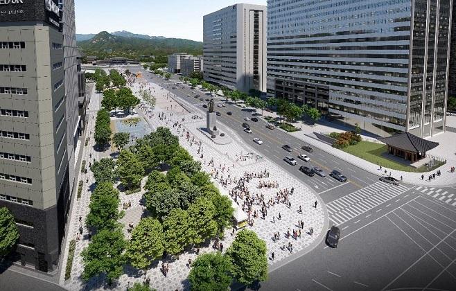 This photo, provided by the Seoul metropolitan government on Sept. 27, 2020, shows a bird's-eye view of the envisioned new Gwanghwamun Square.