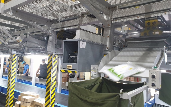 The new Multi Point system  separates larger parcels to be processed on the first floor of the terminal, while smaller ones are processed on the second floor. (image: CJ Logistics)