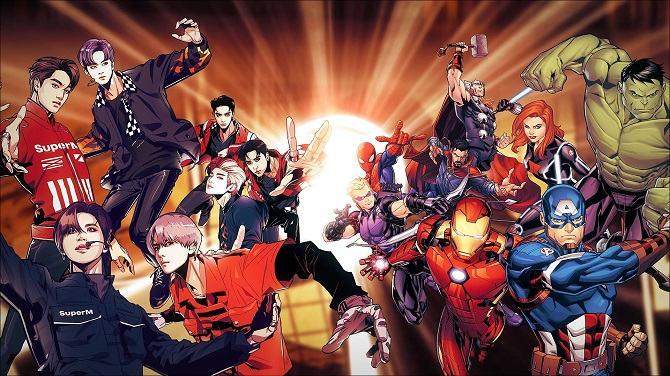 This image provided by SM Entertainment on Sept. 25, 2020, shows a teaser for SuperM's upcoming crossover merchandising project with American entertainment company Marvel Entertainment.