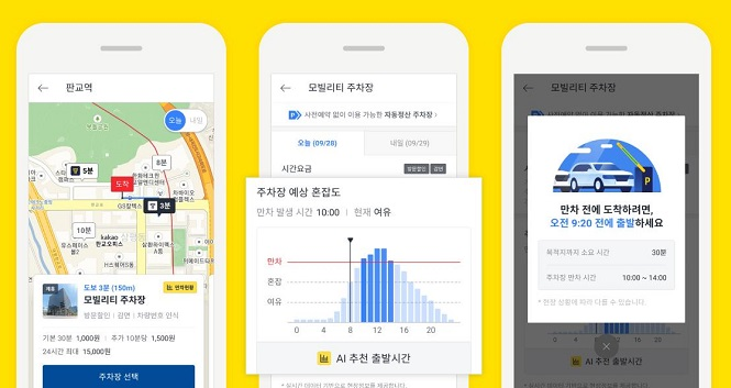 The users of the Kakao T Parking can check the level of congestion at parking lots before arriving at their destination. (image: Kakao Mobility)