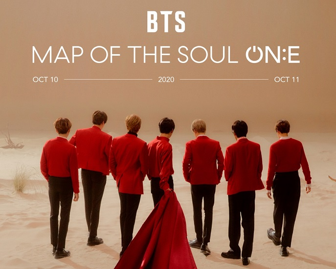 """This image provided by Big Hit Entertainment shows a promotional image for """"BTS Map Of The Soul: ON:E,"""" a BTS concert scheduled for Oct. 10-11, 2020."""