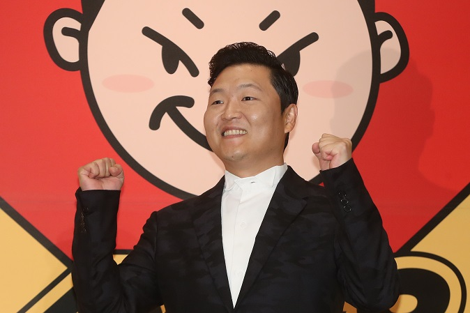 This file photo taken May 10, 2017, shows South Korean singer Psy posing for a photo during a publicity event in Seoul to unveil his eighth studio album. (Yonhap)