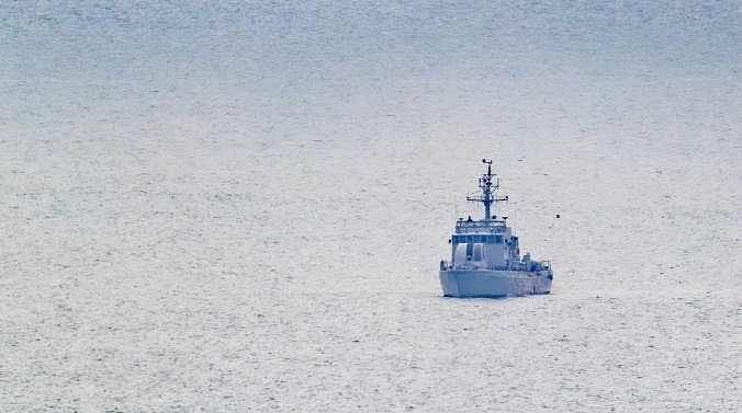 A naval vessel sails in waters off the border island of Yeonpyeong on July 1, 2020. (Yonhap)