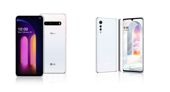 This photo provided by LG Electronics Inc. shows two of the company's smartphones: the V60 ThinQ (L) and the Velvet.