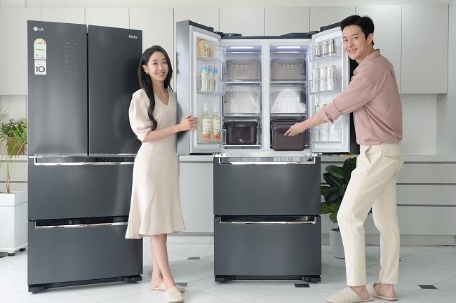 This photo provided by LG Electronics Inc. on Aug. 23, 2020, shows the company's new LG Dios Kimchi Toktok kimchi refrigerator.