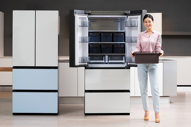 This photo provided by Samsung Electronics Co. on Aug. 31, 2020, shows the company's new Bespoke Kimchi Plus kimchi refrigerator.