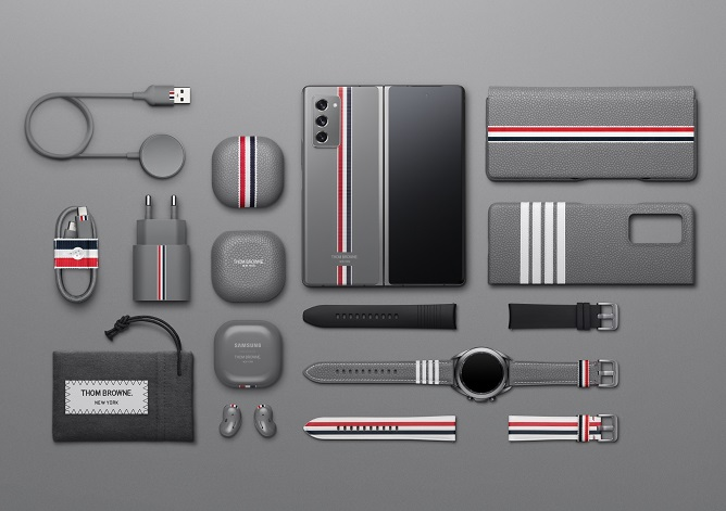 This photo provided by Samsung Electronics Co. shows items of the Galaxy Z Fold 2 Thom Browne Edition Package.