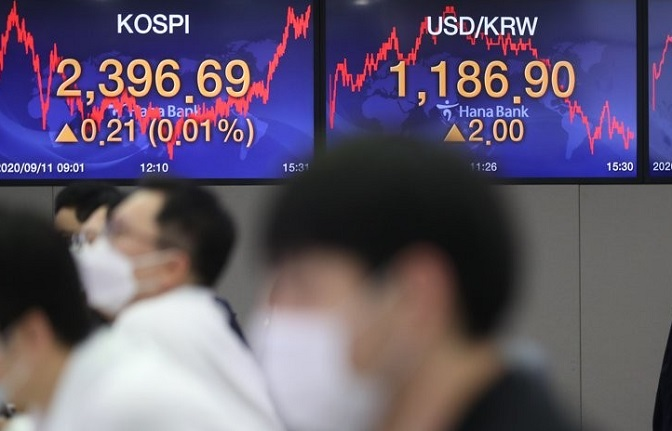 Screens at the trading room of Hana Bank in Seoul show the benchmark Korea Composite Stock Price Index (KOSPI) closed at 2,396.69 on Sept. 11, 2020, up 0.21 points, or 0.01 percent, from the previous session's close. (Yonhap)