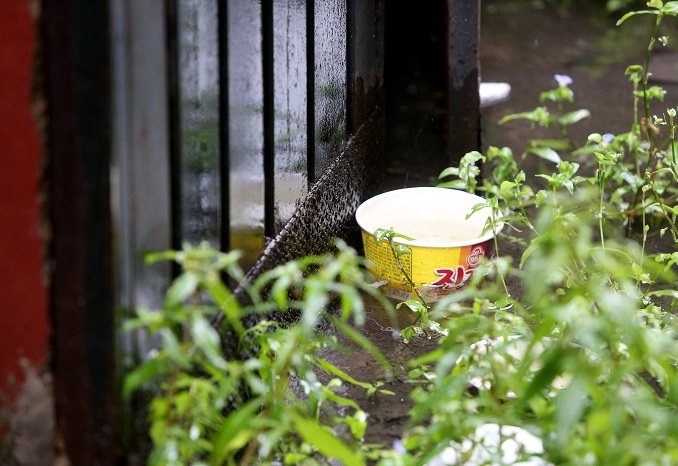 An instant noodle bowl is seen near the boys' home in Incheon on Sept. 17, 2020. (Yonhap)