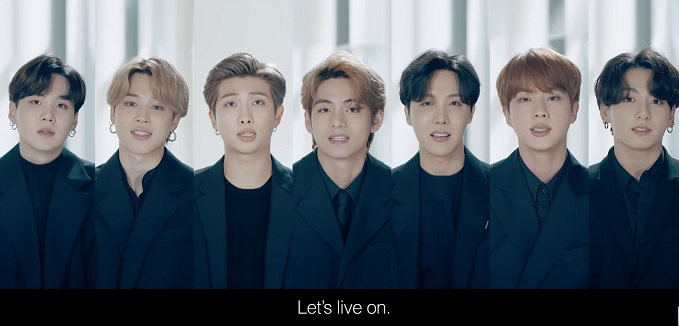 "This screenshot from a live video stream of the high-level meeting of the U.N. Group of Friends of Solidarity for Global Health Security held virtually on Sept. 23, 2020, shows members of K-pop group BTS presenting a special ""message of hope"" addressed to the youth of the world."