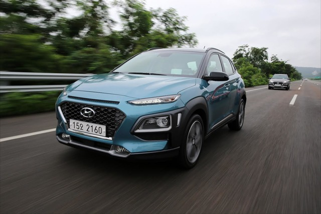 This photo provided by Hyundai Motor shows the carmaker's electrified version of its Kona subcompact SUV.