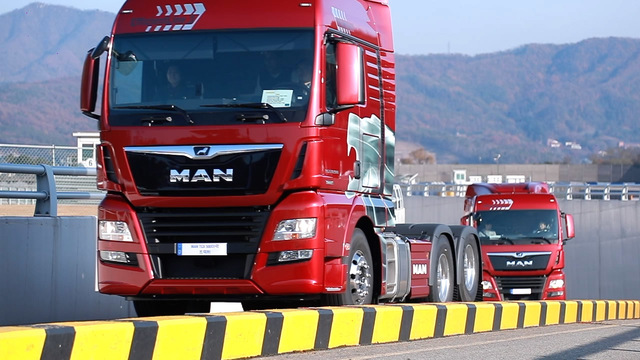 MAN trucks put on a driving performance at Yongin Speedway in Yongin, just southeast of Seoul, on Nov. 18, 2019, in this photo provided by MAN Truck & Bus Korea.