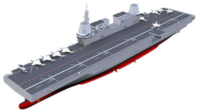 This image, provided by the defense ministry on Aug. 10, 2020, shows the envisioned light aircraft carrier South Korea is pushing to secure by 2033.