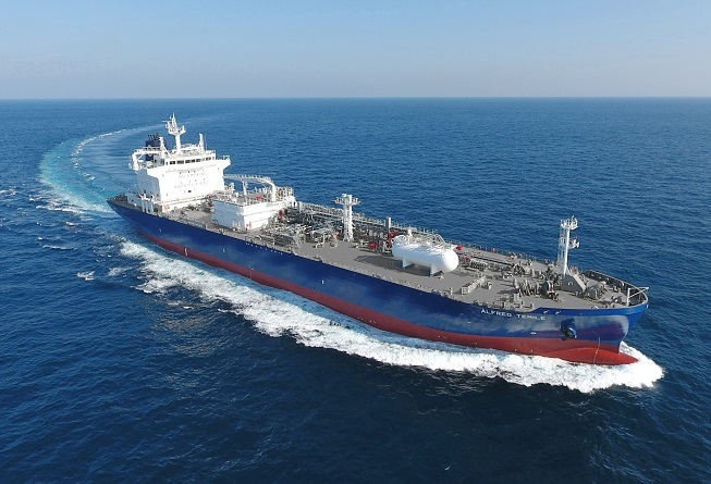 A liquefied petroleum gas carrier built by Hyundai Mipo Dock Yard Co. sails on a sea trial, in this photo provided by Korea Shipbuilding & Offshore Engineering Co. on Oct. 16, 2020.
