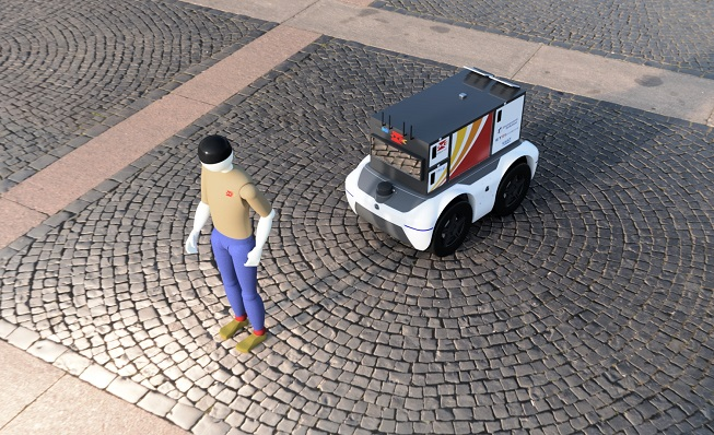 This rendered image provided by Korea Post shows the agency's self-driving robot that carries packages and is able to follow mail carriers on its own.