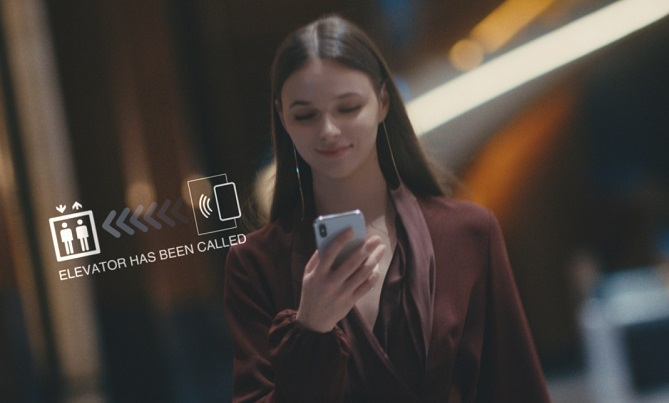 Passengers can go to the destination floor without any physical contact by simply scanning the app on a special motion sensor located inside the elevator. (image: Hyundai Elevator Co.)