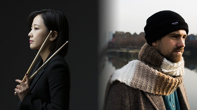 This composite photo, provided by the Korean Cultural Centre UK, shows drummer Suh Soo-jin (L) from jazz group Near East Quartet and BBC Jazz Award-winning British pianist Kit Downes.