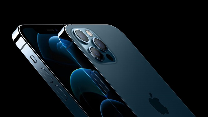 This photo provided by Apple Inc. on Oct. 13, 2020, shows the company's iPhone 12 Pro smartphone models.
