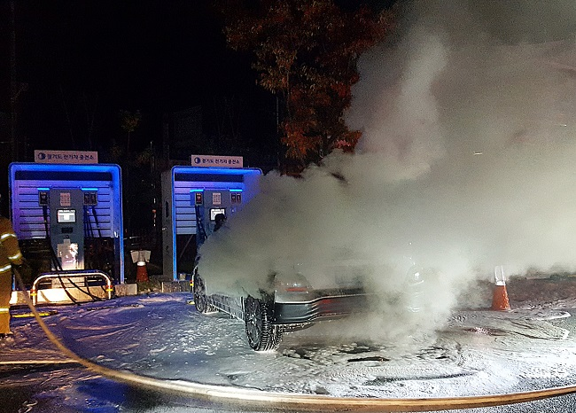 This photo taken on Oct. 17, 2020, and provided by a Namyangju fire station shows a Kona Electric vehicle after it caught fire while charging at a parking lot in Namyangju, just east of Seoul.